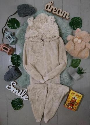 Теплая флисовая пижама кигуруми слип мишка №39