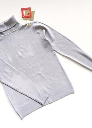 Новый стильный гольф натуральная ткань цвет светло-серый s-m