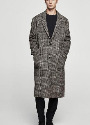 Мужское шерстяное пальто mango