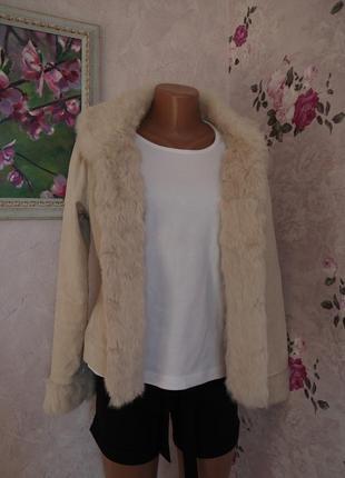 Стильная куртка жакет вельветовая с натуральным мехом
