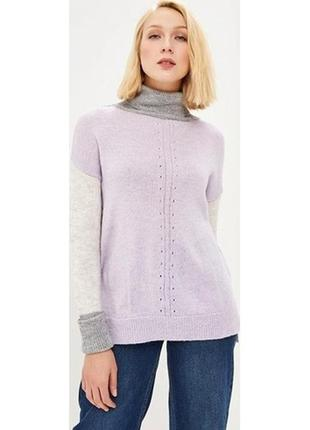 Осенний зимний мягкий вязаный свитер оверсайз под горло с длинным рукавом