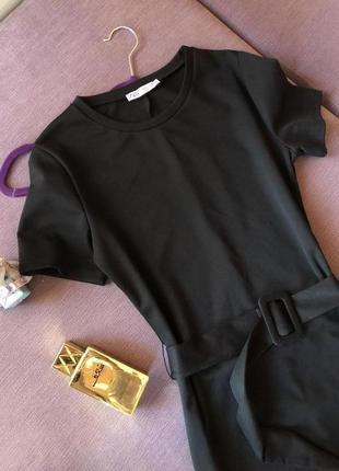 Шикарное трендовое черное миди платье zara
