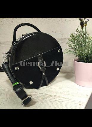 Круглая сумка через плечо со вставкой из натурально замши baliviya 19713 черная