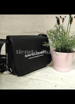Стильная сумка через плечо с надписью david jones 1029 черная