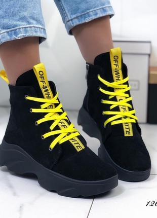 Женские замшевые ботинки на платформе