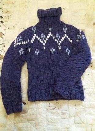 Теплый зимний шерстяной свитер кофта гольф рр м