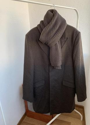 Пальто шерстяное коричневого цвета