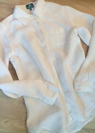 Итальянская белая рубашка 100% лен свободного кроя