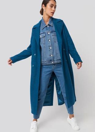 Тёплое двубортное пальто макси