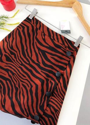 Актуальная миди юбка высокой посадки в анималистический принт с пуговицами primark