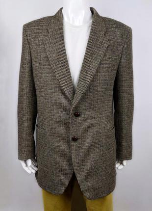 Винтажный твидовый пиджак harris tweed. шерсть. размер л/хл