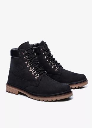 + black friday sale + черные  кожаные нубуковые ботинки gard
