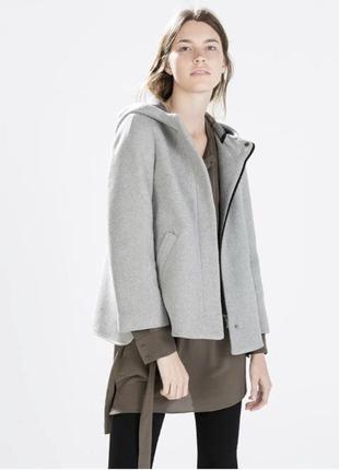 Демисезонное пальто/жакет zara с капюшоном