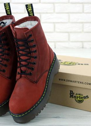 Шикарные женские зимние ботинки dr. martens jadon cherry