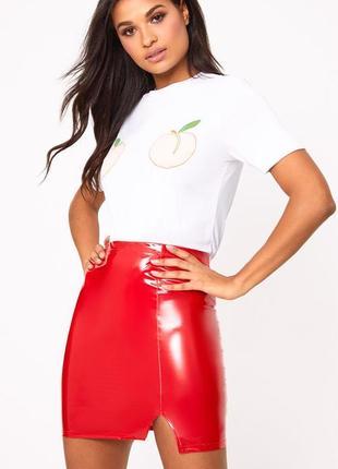 Тотальная распродажа! трендовая виниловая юбка с высокой посадкой и разрезом на ножке