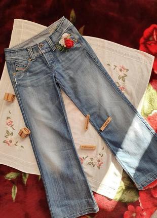 Джинси сині джинсы синие з широкою штанкою