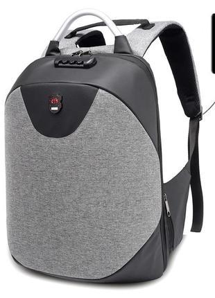 Мужской водонепроницаемый рюкзак городской с usb и кодовым замком серый - черный