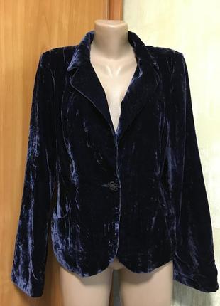 Изумительный бархатный вилюровый жакет,пиджак,чернильный!