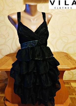 Черное коктельное платье от vila, оригинал, великобритания