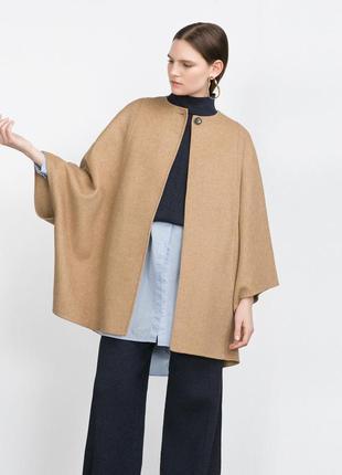 Уникальное бежевое шерстяное пальто кейп zara ручная работа