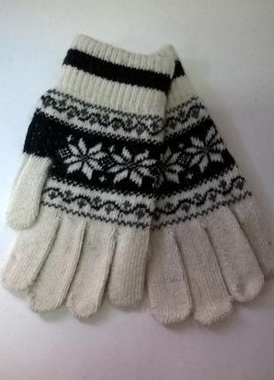 Перчатки шерстяные белые с черным