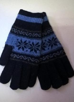Перчатки шерстяные черно-синие