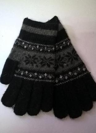 Перчатки шерстяные черно-серые