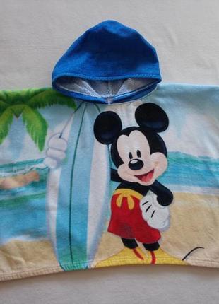 Махровое полотенце-пончо disney-микки для малыша 100%хлопок