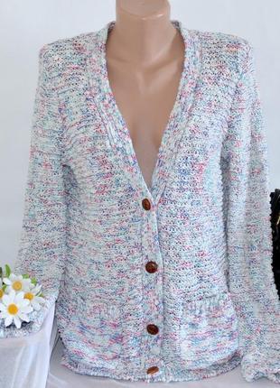 Брендовый разноцветный вязаный теплый кардиган накидка с карманами indigo by m&s коттон