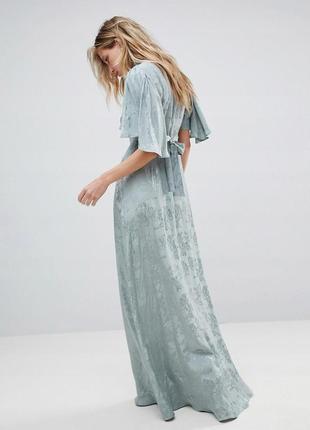 Вечірня сукня бірюзового кольору з широкими рукавами