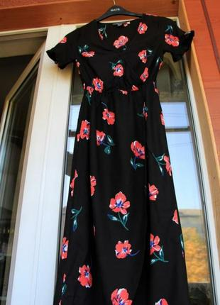 Платье, на запах, черное, натуральное, плаття, сукня, чорне, квіти