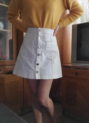 Джинсовая юбка спереди на пуговицах трапеция divided