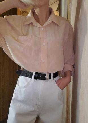 Рубашка оверсайз в полоску нюдовые пудровые цвета шёлк винтаж ретро