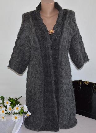 Брендовый серый вязаный теплый кардиган накидка river island альпака