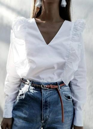 🌿 хлопковая блуза с оборочками от zara