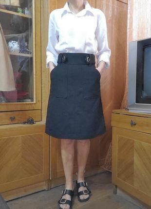 #розвантажуюсь юбка зима демисезон плотная трапеция карманы h&m
