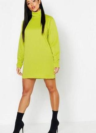 Boohoo. платье свитшот неон-лайм размер 44-46 новое.
