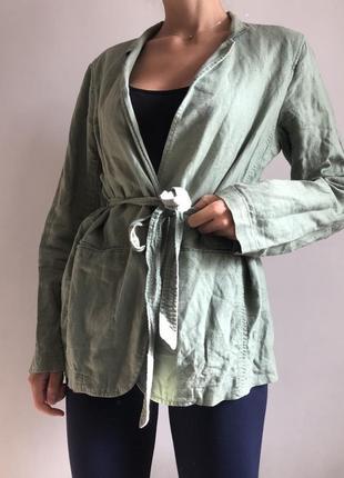 Мятный льняной женский пиджак жакет