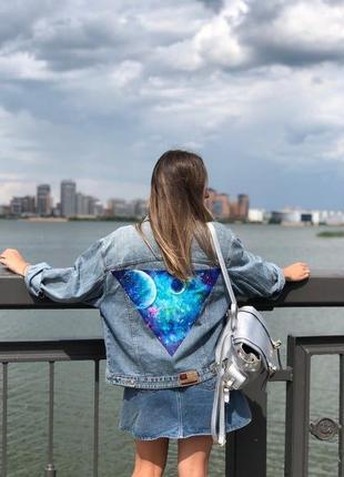 Ручная роспись на джинсовой куртке рисунок не принт джинсовка пиджак космос