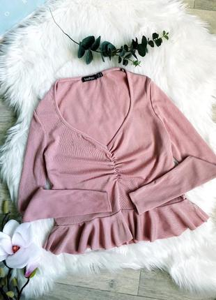 Нежно- розовая блуза в рубчик от boohoo