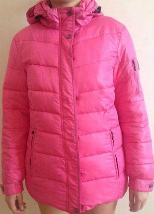 Женская зимняя куртка пуховик, размер 40, цвет розовый