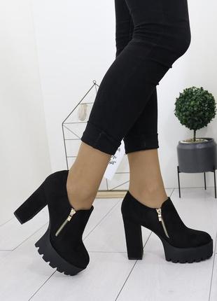 Новые шикарные женские черные осенние ботильоны ботинки