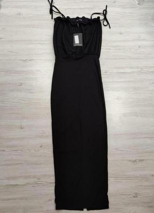 Платье макси в рубчик