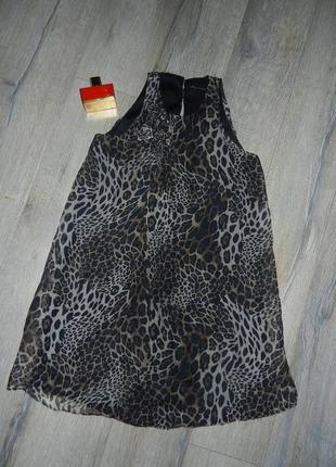 S/м*zara*.оригинал леопардовое нарядное платье, натуральный воздушный шелк