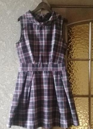 Теплое платье в клеточку