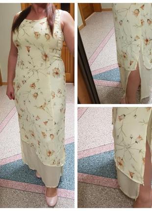 Летнее натуральное длинное платье gerry weber с разрезами по боках