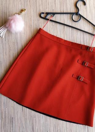 Шикарная плотная юбка трапеция осеннего цвета