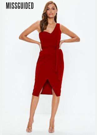 Новое бордовое платье на одно плечо missguided