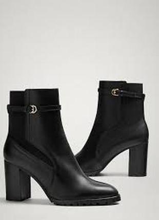 Кожаные ботильоны,ботинки на высоком каблуке massimo dutti