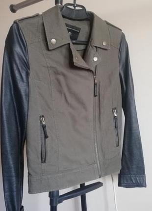 Джинсовая куртка с кожаными рукавами dorothy perkins